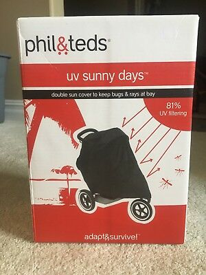 Phil & Teds UV Sunny Days Double Sun Cover Keeps Bugs & Rays at Bay NEW