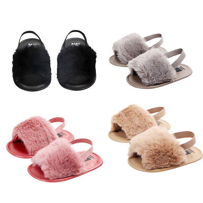 Toddler Baby Girl Kid Soft Sole Sandal Plush Slide Anti-slip Pram Crib Shoes
