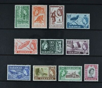Sarawak, QEII, 1955 / 59, eleven (11) stamps from the set, mounted mint.