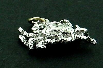 Crab #4  Charm/ Pendant in Sterling     3/D Large  Details Top and Bottom