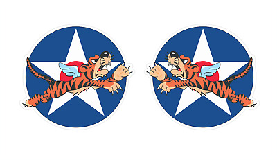 AVG Flying Tiger Fighter Insignia stickers, WWII Military Airplane | Size: 12""