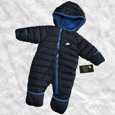 NWT $75 Nike Baby Boy Snowsuit Hooded Mitts & Footies Fleece Lined 6M 9M