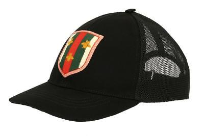 New Gucci Web Bee Detail Black Canvas Logo Baseball Cap Hat 57 s Small 59ca4377990