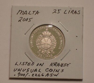 2005 Silver 25 liras of Malta GEM PROOF