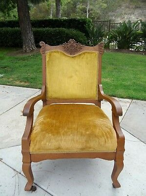 Antique Victorian Carved Oak Wooden Chair Swag Bow