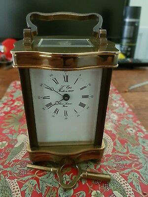 Vintage Lepee Serpentine 8 Day Brass Carriage Clock