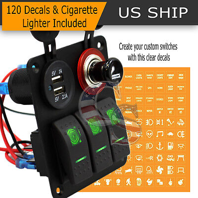 3 GANG WATERPROOF USB Toggle Automotive Switch Panel Green