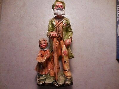 Made in Japan old man with girl figurine