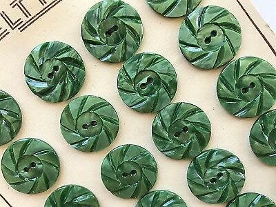 Vintage Buttons - 1930's 24 Marble Green Casein 2-Hole Wheel Buttons