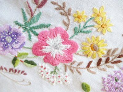 Vintage Tablecloth Hand Embroidered Colourful Floral Design-Linen