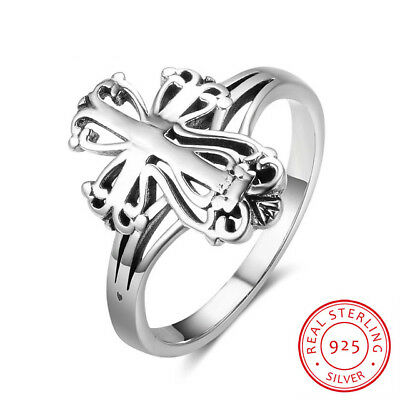 Cross Ring Sterling Silver 0.925 Vintage Filigree Faith Gift Thin Band Religious