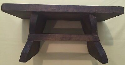 Early Mortised Wooden Primitive Foot Stool-Child'S Stool/bench Original Finish
