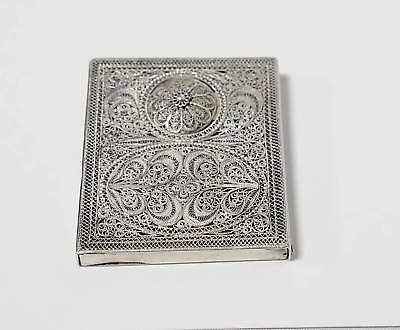 Antique Sterling Silver Filigree Card Case