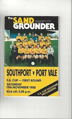Southport v Port Vale FA Cup Football Programme 1988/89