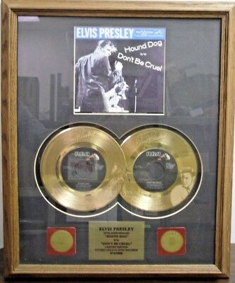 "Elvis Presley  ""Hound Dog"" and ""Don't Be Cruel"" Framed Gold Plated Records"