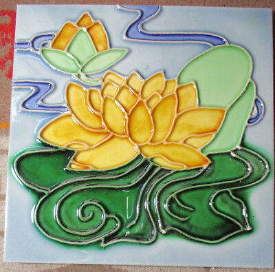 Never Used NEATCO Hand Painted Ceramic Tile LILY PODS