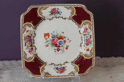 Royal Crown Myott Staffordshire Floral Plate Artist Signed - Made In England