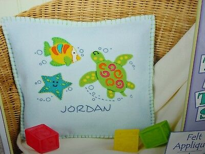 New Lil Tots Felt Applique Under The Sea Pillow Baby Name Dimensions