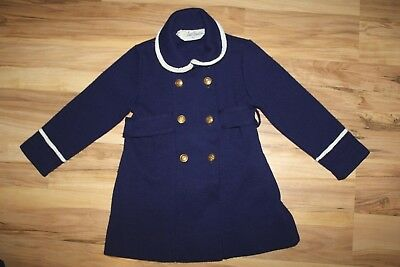 Vtg Little World girls 2T Navy Blue Double-breasted Knit Pea Coat Cardigan