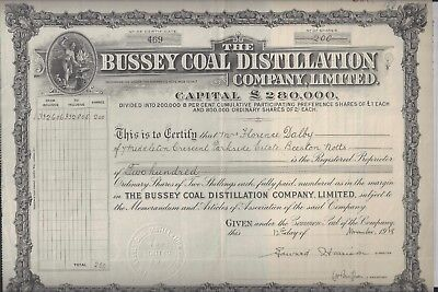 Aktie Schottland v. 1928: Bussey Coal Distillation Company, Limited RAR!