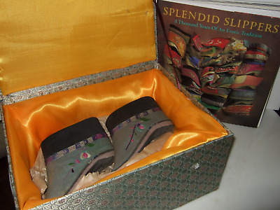 Antique Chinese Lotus Shoes 1800s Embroidered in Fitted Silk Box and Book