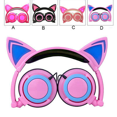 Foldable Cat Ear LED Music Lights Headphone Earphone headset for Laptop MP3
