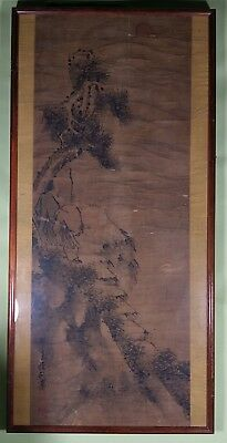 Asian scroll on paper 19th c. mounted in frame unidentified