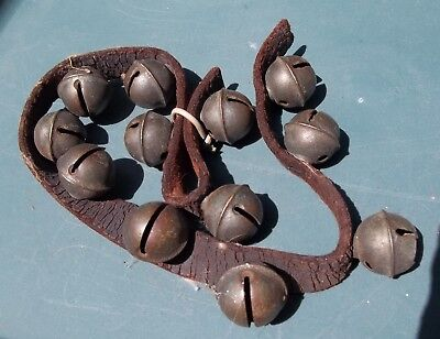 11 Antique Brass Horse Sleigh Bells On Original LeatherHarness