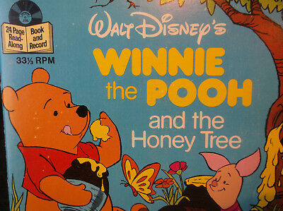 Walt Disney 1979 Winnie the pooh and the honey tree 24 page book and record