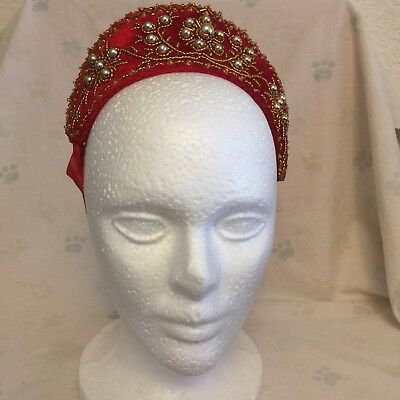 Hungarian Beaded Headdress Szatmar PARTA Cap Red with Silver Gold Folk Dance
