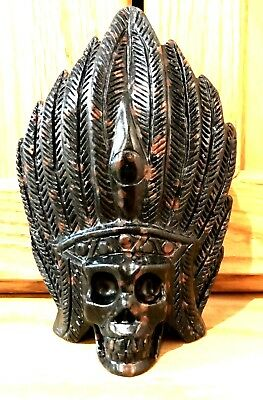 Black and Red Jasper Bloodstone Carved Skull With Feather Headdress