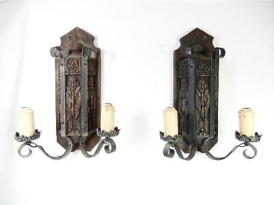 Pair of Large Vintage Gothic Style 2-Arm Sconces. Iron & Faux Wood.  Nice!