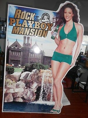 "Rolling Rock Beer Sign ""Rock the Mansion"" Limited Edition Playboy Tin"
