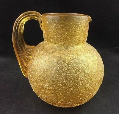 """Antique Amber Craquelle Overshot Glass 4 3/4"""" Pitcher w/ Applied Reeded Handle"""