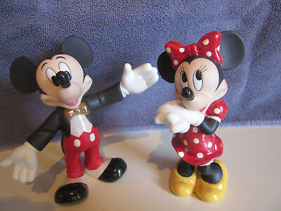 Disney Mickey and Minnie Mouse  Ceramic Porcelain Figures 5 1/2 inch