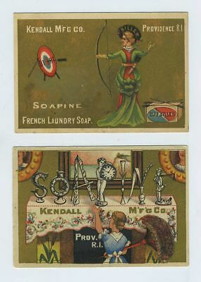 Lot (2) 1800's Advertising Trade Cards Soapine Soap Kendall Providence RI bv8367