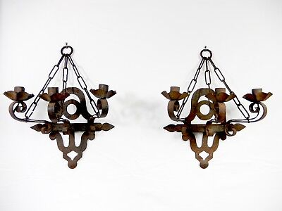 Pair Antique - Vintage 3-Arm Textured Iron Sconces  Hung with 3 Lengths of Chain