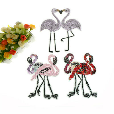 double flamingo bird sequin embroidered patches sew on clothes applique crafts T