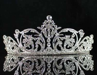 Superb Clear Austrian Rhiestone Crystal Hair Tiara Crown Bridal Wedding T1759