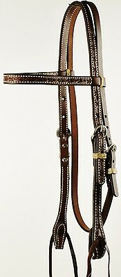 Western Pre-Oiled Barbwire Tooled Browband Headstall Horse Bridle with Ties NEW
