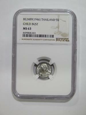 Thailand Be2489 1946 5 Satang Ngc Ms63 Graded World Type Coin Collection Lot