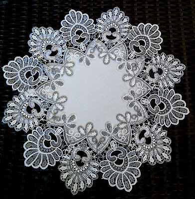 """16"""" Doily Silver Gray Lace Antique White Ivory"""