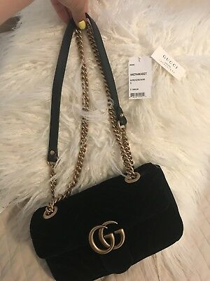 89a4c7079b4 Authentic Gucci Marmont Quilted Gg Chain Shoulder Bag Black Velvet Gorgeous