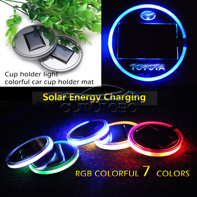 2x  Solar LED 7 Color Cup Holder Powered Car SUV Bottom Pad Mat Cover Trim Lamp