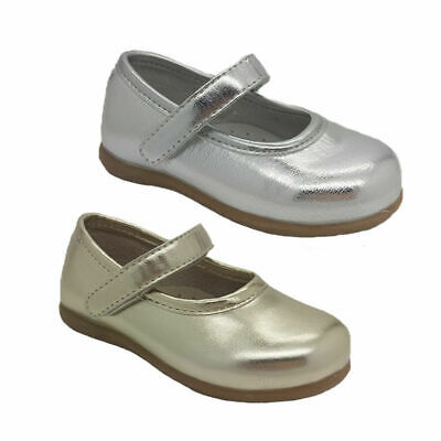 Girls Toddler Shoes Grosby Milly Mary Jane Shiny Silver Gold Cute Size AU 4-7.5