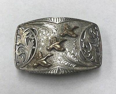Vintage 925 Sterling Silver Ducks Unlimited Duck Belt Buckle Collectible Corning