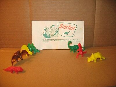 Vintage 60s Sinclair lot of 7 and 1 unopen Dinosars