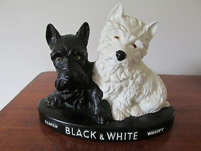 Vintage Black and White Scotch Whisky Scottie Dog Bar Advertising Figure