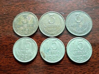 6 coins USSR see photo