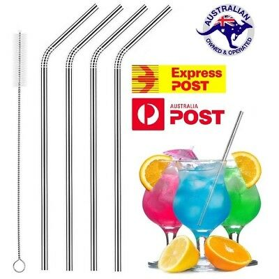 4X Stainless Steel Straws Brush Metal Drinking Straw Bent Reusable Washable Food